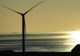 10.06.21 Liverpool summer solstice ~ the longest day (evening) ~ a wind turbine in the Mersey estuary provides energy as the sun sets