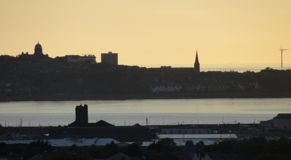 10.06.21 Liverpool the longest day (evening) Wirral skyline and Mersey Estuary wind turbines